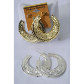 "Earrings Metal Loop W Design/DZ Size-2.25"" Wide,Finish 2 Sides,Choose Gold Or Silver Finish,Earring Card & OPP bag & UPC Code -"