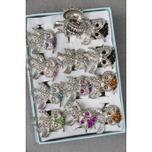 "Rings Owl Metal W Color Rhinestone Mix/DZ **Stretch** Owl Size-1""x2.5"" Wide,8 Color Asst,W 1Dz Velvet Ring Display Window Box,W OPP bag & UPC Code -"