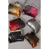 "Coin Purse W Crock Patterns/DZ Size-4""x 3.5"" Wide,6 Color Asst,W Opp Bag -"