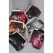 "Coin Purse Croco & Tiger Print Mix/DZ Size-4""x 3.5"" Wide,2 of each color Color Asst,W Opp Bag -"