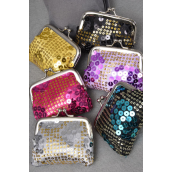 "Coin Purse Satin W Sequins/DZ Size-4""x 3.5"" Wide,2 of each Color Asst,W Opp bag"