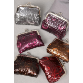 "Coin Purse Animal Pattern W Design/DZ Size-4""x 3.5"" Wide,2 of each Color Asst,W Opp bag -"
