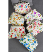 "Coin Purse fabric W Floral Patterns/DZ Size-4""x 3.5"" Wide,2 of each Color Asst,W Opp bag -"