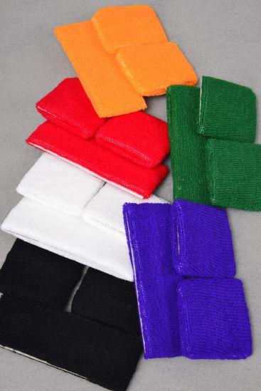 Sweat BAND & WRIST BAND Sets Multi Color Asst/DZ