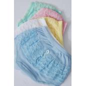 Panties,Little Girls Cotton Ruffle Panty Size 1 2 3 Asst/DZ Size-1.2.3 Mix,4 Pink,3 White,2 Blue,2 Yellow,1 Green,5 Color Asst,W OPP Bag