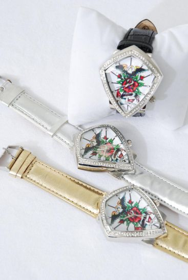 WATCH fancy Face W Stones Band Style/PC