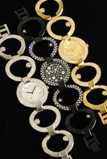 WATCH Band Style Large round face w Crystal Around/Pc