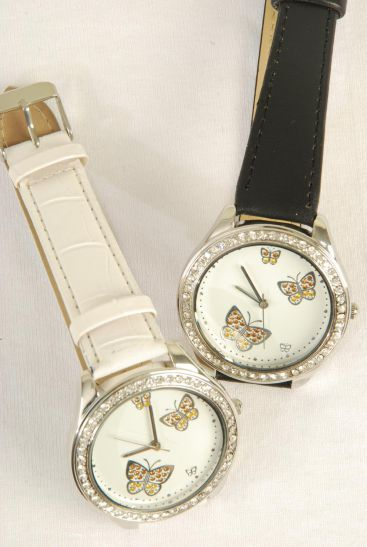 WATCH Leather Band W Butterfly/PC