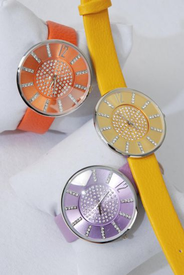 WATCH Round Crystal Face w Colorful Band/Pc