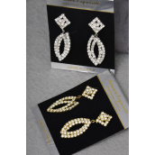 "Earrings Boutique Marquis Shape Dangle Post/PC **POST** Size-2""x 0.75"" Wide,Velvet Earring Card & OPP bag & UPC code,choose Gold or Silver Finishes -"