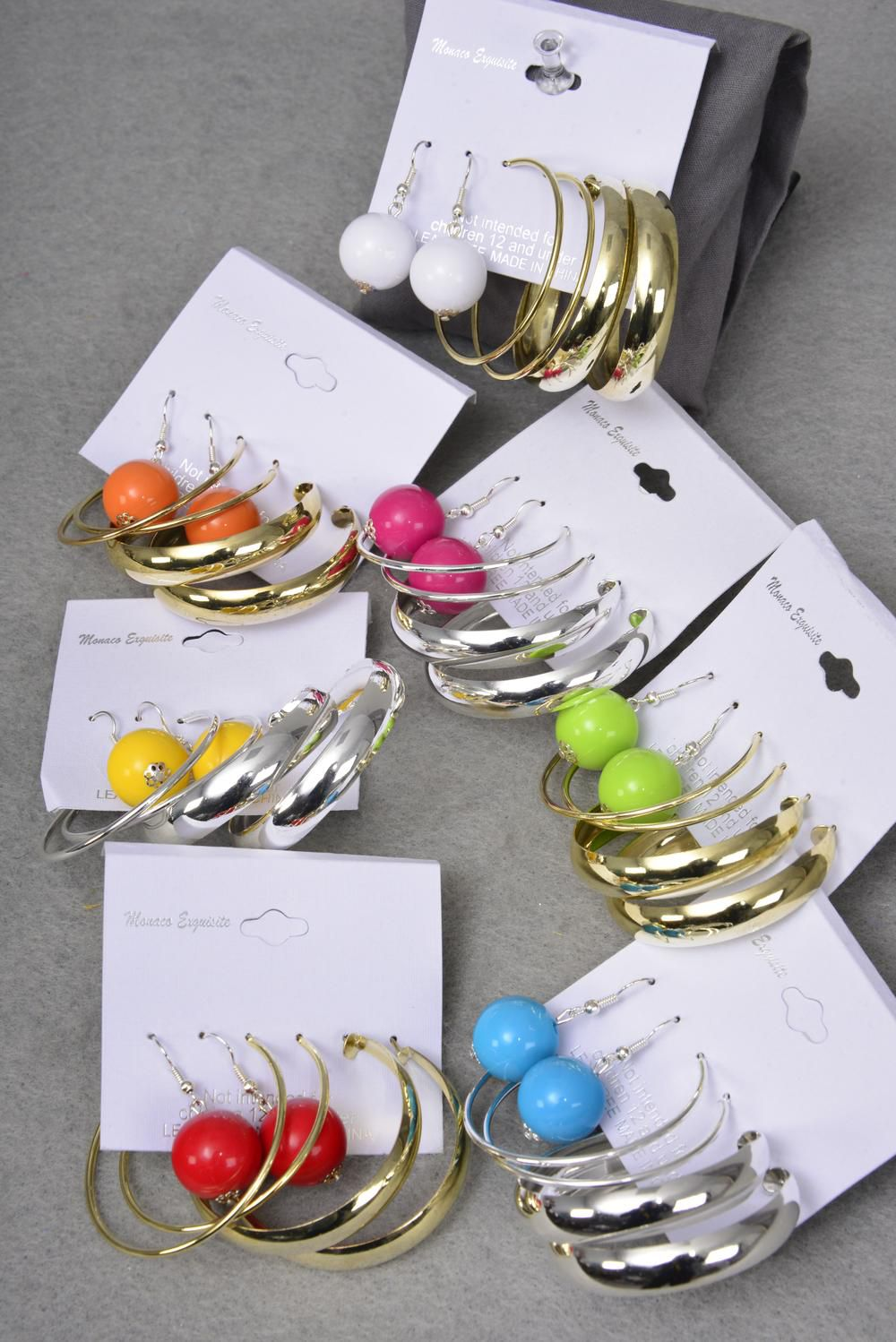 "Earrings 3 Pair 12mm Color Ball & 1.75"" Hoop Mix/DZ Hoop Size-1.75"" Wide,6 Gold & E Silver Mix,7 Color Ball,Earring Card & OPP Bag & UPC code,3 Pair per card,12 card=Dozen -"