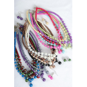 "Necklace Sets W Glass Pearl Drops /DZ 20"" Long, Choose Colors,W Hangtag & Opp Bag & UPC Code"