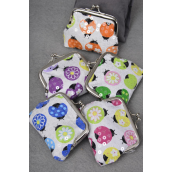 "Coin Purse Cotton fabric ladybugs W AB Clear Sequins/DZ Size-4""x 3.5"" Wide,3 Pink,3 Purple,2 Blue,2 Orange,2 Green Mix,5 Color Asst, Opp bag -"