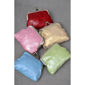 "Coin Purse Emboss Leather Feel W Embroidery Hearts/DZ Size-4""x 3.5"" Wide,4 Red,2 Pink,2 Blue,2 Green,2 Gold,5 Color Asst,Opp Bag & UPC Code -"