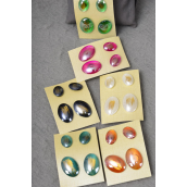 "Earrings 2 Pair Poly Oval Shape Color Asst Post/DZ **Post** Size-Small-0.5""x 0.75"" Large-1""x 0.75"" Wide,2 of each Color Asst,Earring Card & OPP Bag & UPC Code,2per card,12card=Dozen -"