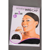 Stocking Wig Cap Black/DZ Each Card Has 2pcs stocking caps,W Display & OPP Bag & UPC Code -
