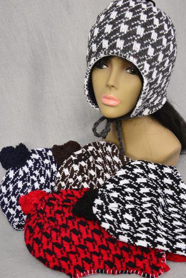 Knit CAP Houndstooth Fleece & BALLs/DZ