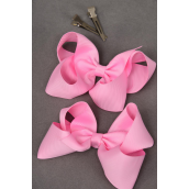 "Hair Bow Large Alligator Clip Grosgrain Fabric Bow-tie 4""x 3"" Wide Baby Pink/DZ **Baby Pink** Alligator Clip,Size-4""x3"" Wide,Display Card & UPC Code,W Clear Box -"