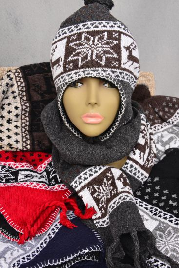 Scarf & HAT Sets Snow Flake & Dear Head wear/6 Sets per Pack