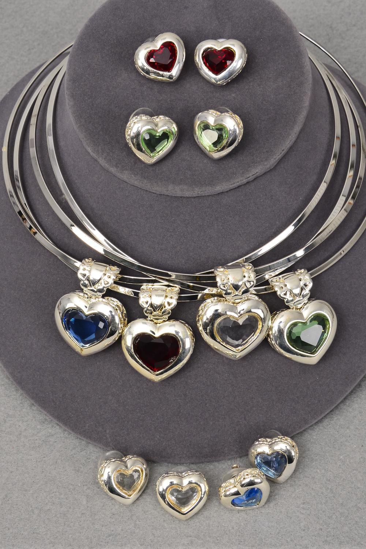 Necklace sets choker glass heart pendant sets post 16 for Code postal charmes