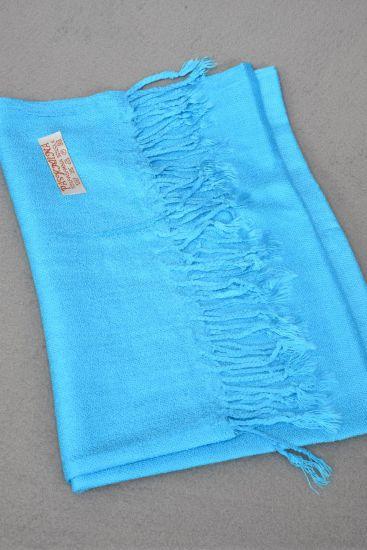 **Blue** Size-70''x 25'' Wide,70% PASHMINA,30% Silk,W OPP Bag