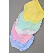 Panties,Little Girls Cotton Ruffle Panty 4 6 8 Size Asst/DZ Size-4.6.8 Mix,4 Pink,3 White,2 Blue,2 Yellow,1 Green,5 Color Asst,W OPP bag