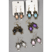 "Earrings Metal Antique Owl Acrylic Stones/DZ match 26945 **Fish Hook** Size-1.25""x 75"" Wide,4 Black,2 Clear,2 Pink,2 Purple,2 Blue,5 Color Asst,Earring Card & OPP bag & UPC Code -"