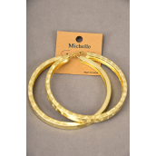 "Earrings Metal Hoop Design/DZ **Post** Size-3"" Dia Wide,Earring card & OPP Bag & UPC code,Choose Gold Or Silver finishes -"