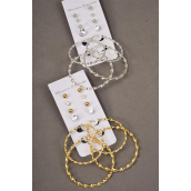 "Earrings 6 pair Metal Woven Loop & Studs Mix/DZ Loop Size-2"" Wide,6 Gold & 6 Silver Mix,Earring Card & Opp bag & UPC Code,each card has 6pair Earrings,12card=Dozen -"