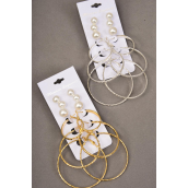 "Earrings 6 pairs mix 3 pair Loop & 3 Pearl Studs Mix/DZ Size-Loop-1.25"" 1.75"" 2"" 3 Size Mix,6 Gold & 6 Silver Mix,Earring Card & OPP bag & UPC Code,3pair per card,12card=Dozen -"