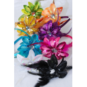 """Head Band Satin Sequin Daisy Flower W Feathers Multi/DZ **Multi** Flower-5"""" Wide,2 Fuchsia,2 Purple,2 Yellow,1 White,1 Orange,1 Lime,1 Red,1 Black,1 Blue,9 Color Asst,Hang Tag & UPC code - Flower-5"""" Wide"""