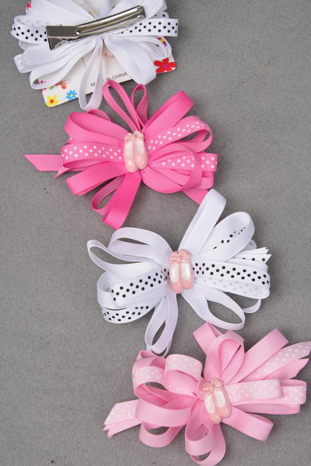 hair bow ballet shoes loop bow polka dots grosgrain bow. Black Bedroom Furniture Sets. Home Design Ideas