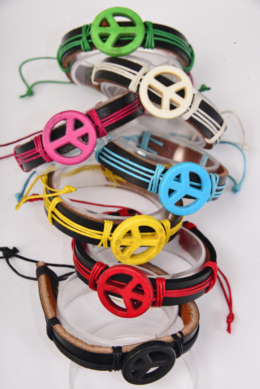"Bracelet Real leather Band Peace Sign Semiprecious Stone/DZ **Unisex** Adjustable,Peace-1"" Wide,2 Black,2 Ivory,2 Blue,2 Yellow,1 Fuchsia,2 Red,1 Green,7 Color Mix,Hang Tag & OPP Bag & UPC Code -"