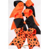 "Hair Bow Jumbo Halloween Long Tail Grosgrain Fabric Bow-tie/DZ **Alligator Clip** Size-6""x 6.5"" Wide,3 of each Color Asst,Clip Strip & UPC Code -"