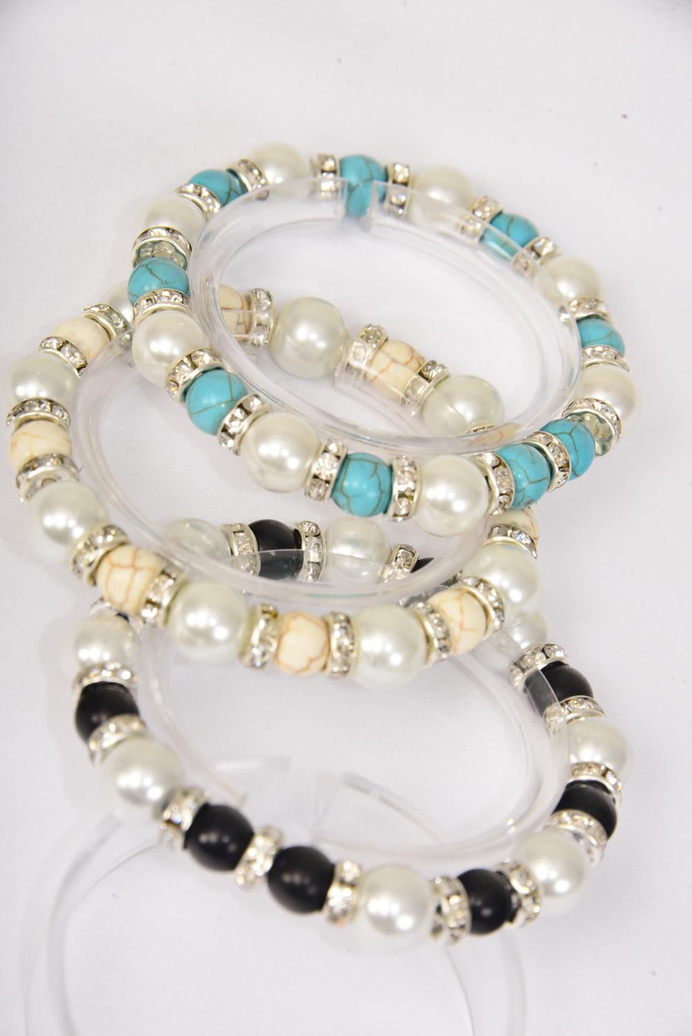 Bracelet 10 mm Pearl & Semiprecious Stone & Glass Pearl & Rhinestone Bessels Stretch/DZ **Stretch** 3 Black,3 Ivory,6 Turquoise,3 Color Asst,Hang Tag & Opp Bag & UPC Code -