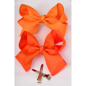 "Hair Bow Large 4""x3"" Wide Orange Alligator Clip Grosgrain Bow-tie/DZ **Orange** Alligator Clip,Size-4""x 3"" Wide,6 of each Color Asst,Clip Strip & UPC Code"