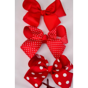 """Hair Bow Jumbo Red Polkadots Mix Alligator Clip Grosgrain Fabric Bow-tie/DZ **Red Polka-dot Mix** Alligator Clip,Size-6""""x 5"""" Wide,4 of each Pattern Mix,Clip Strip & UPC Code-"""