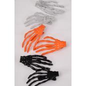 """Hair Clip Skeleton Hand 24 pecs/DZ ** Alligator Clip** Size-3""""x 1.5"""",4 of each Color Asst,Hang Card & Individual OPP Bag & UPC Code,2 pecs per Card,12 Card=Dozen"""