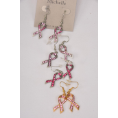"Earrings Metal Pink Ribbon Rhinestones/DZ match 75851 **Fish Hook** Ribbon-1""x 0.5"" Wide,6 Hot Pink & 6 Baby Pink Mix,Earring Card & OPP Bag & UPC Code"