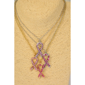 "Necklace Chain Pink Ribbon Large Rhinestone Pendant/DZ Match 02367 Pendant-1.5""x 0.5"" Wide,18"" Long,6 Gold & 6 Silver MIx,3 of each Color Mix,Display Card & OPP bag & UPC Code"