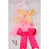 "Hair Bow Grosgrain Long Tail Double Layer Pink Ribbons Alligator Clip **Alligator Clip** Size-6"" x5"" Wide,4 Hot Pink,4 Baby Pink,2 Beige,2 Whiter Mix,W Clip Strip & UPC Code"