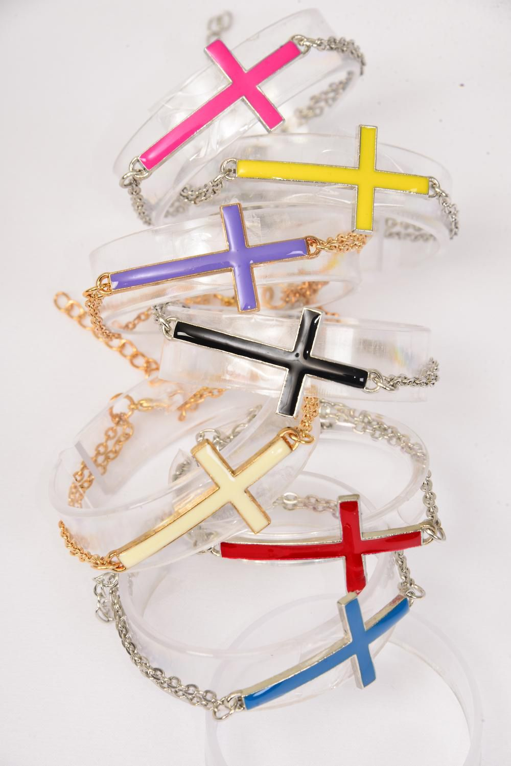 Bracelet Enamel Cross Double Chains Extension Chain/DZ **Adjustable Length** 2 of each Color Asst,Hang Tag & OPP Bag & UPC Code.
