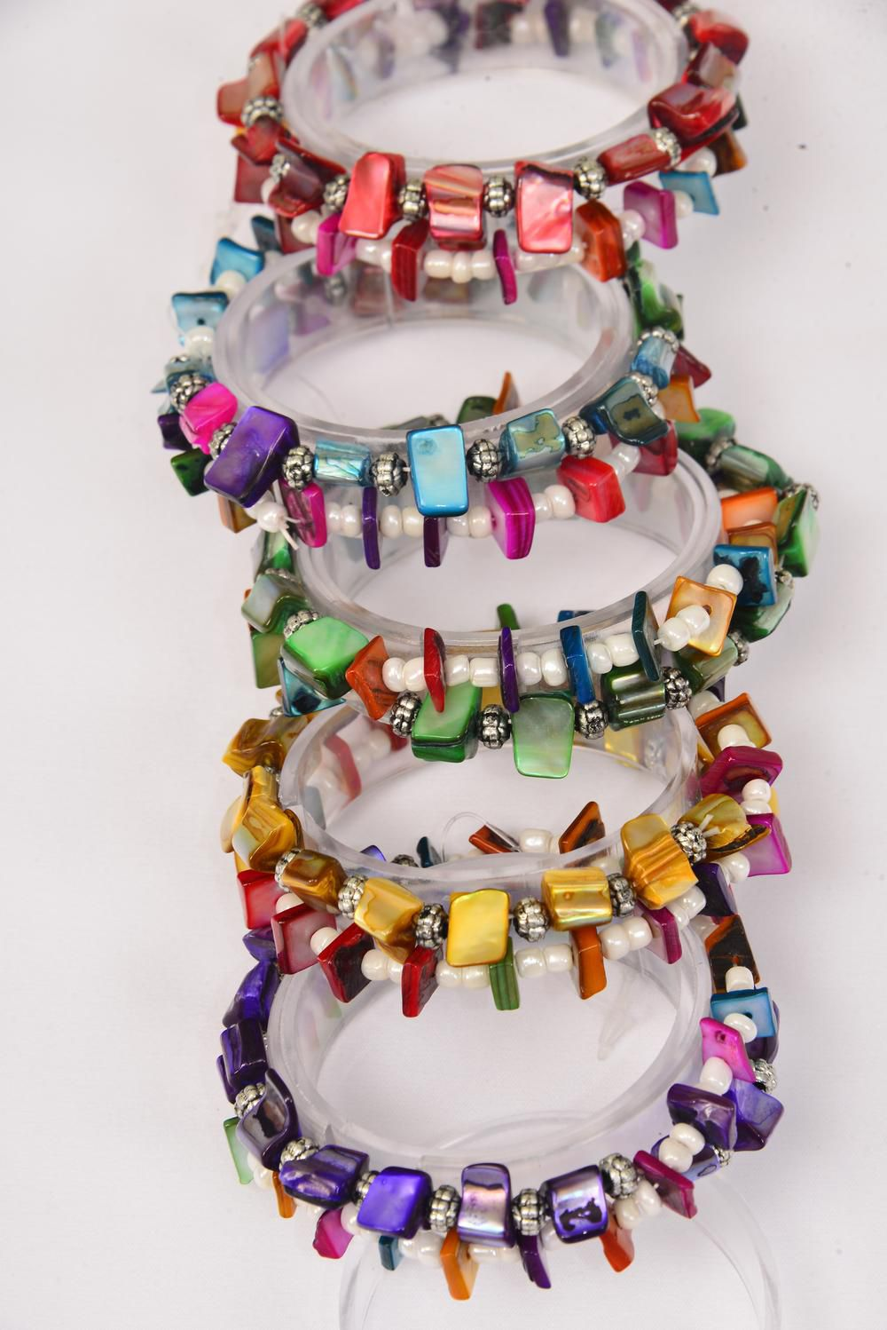 Bracelets 2 String Seashell Block & Beads Mix Stretch/DZ **Stretch** 2 of each Color Asst,Hang Tag & OPP Bag & UPC Code