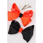 "Hair Bow Halloween Bow-tie 4""x 3"" Grosgrain Alligator Clip/DZ **Alligator Clip**  Bow-4""x 3"" Wide,6 Black & 6 Orange Mix,Display Card & UPC Code,Clear Box"