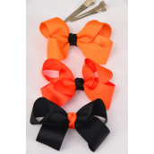 "Hair Bow Halloween Bow-tie 3""x 2"" WGrosgrain Fabric W Alligator Clip/DZ **Alligator Clip**  Bow-3""x 2"",4 of each color Mix,Display Card & UPC Code,W Clear Box"