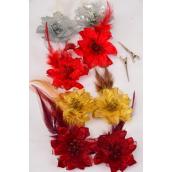 "Flowers 24 Pecs Alligator Clip Glitter Flower W Feathers/DZ Flower Size-2.75"",3 of each Color Asst,Display Card & UPC Code,Clear Box,each card has 2 pecs,12 Card=Dozen"