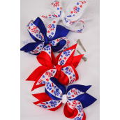 """Hair Bow Patriotic-Flag Paw Print Extra Jumbo Alligator Clip Double Layer Grograin Bowtie/DZ ** Alligator Clip** Bow-6""""x 5"""" Wide,3 Multi,3 White,3 Red,3 Blue,4 Color Mix,Clip Strip & UPC Code"""