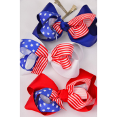 """Hair Bow Patriotic-Flag Jumbo Alligator Clip Double Layer Grograin Bowtie/DZ ** Alligator Clip** Bow-6""""x 5"""" Wide,4 White,4 Red,4 Blue,3 Color Mix,Clear Strip & UPC Code"""