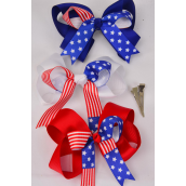 """Hair Bow Jumbo Patriotic-Flag Double Layer Long Tail Grograin Bowtie/DZ ** Alligator Clip** Bow-6""""x 5"""" Wide,4 White,4 Red,4 Blue,3 Color Mix,W Clear Strip & UPC Code"""