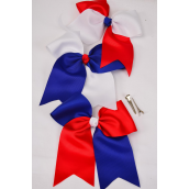 """Hair Bow Extra Jumbo Long Tail Alligator Clip Grosgrain Bow-tie Red White Blue Mix/DZ **Red & White Mix** Alligator Clip,Size-6""""x 6.5"""" Wide,6 Multi,3 Red,3 Blue,3 Color Asst,Clip Strip & UPC Code"""